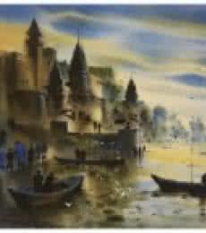Landscape Acrylic Art Painting title 'Banaras Ghat 10' by artist Sandeep Chhatraband