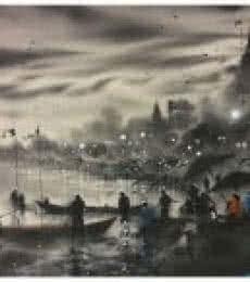 Landscape Acrylic Art Painting title Banaras Ghat 9 by artist Sandeep Chhatraband