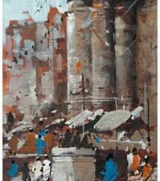 Landscape Acrylic Art Painting title 'Banaras Ghat 20' by artist Sandeep Chhatraband
