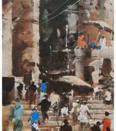 Landscape Acrylic Art Painting title 'Banaras Ghat 19' by artist Sandeep Chhatraband