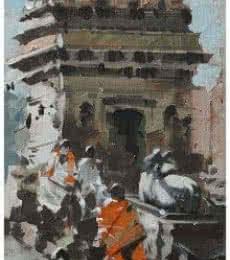 Landscape Acrylic Art Painting title 'Banaras Ghat 18' by artist Sandeep Chhatraband