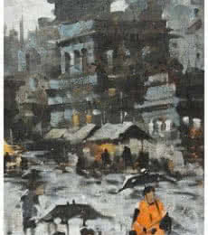 Landscape Acrylic Art Painting title 'Banaras Ghat 17' by artist Sandeep Chhatraband