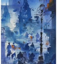 Nature Acrylic Art Painting title 'Banaras Ghat 16' by artist Sandeep Chhatraband