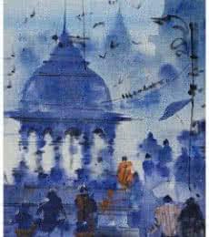 Landscape Acrylic Art Painting title 'Banaras Ghat 15' by artist Sandeep Chhatraband