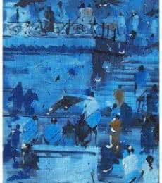 Sandeep Chhatraband Paintings | Acrylic Painting - Banaras Ghat 14 by artist Sandeep Chhatraband | ArtZolo.com