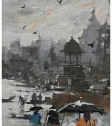 Landscape Acrylic Art Painting title 'Banaras Ghat 12' by artist Sandeep Chhatraband