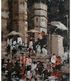 Sandeep Chhatraband Paintings | Acrylic Painting - Banaras Ghat 7 by artist Sandeep Chhatraband | ArtZolo.com