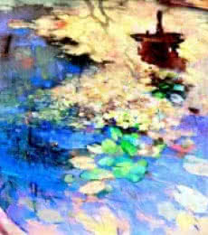 Lotus Pond | Painting by artist Sikandar Mulla | oil | Canvas
