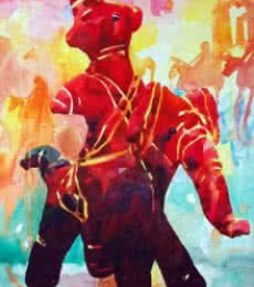 Nature Watercolor Art Painting title 'Warrior' by artist Manas Biswas