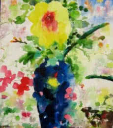 Nature Watercolor Art Painting title Flower vase With Nature by artist Manas Biswas