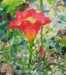 Nature Watercolor Art Painting title 'Red Lily In Nature' by artist Manas Biswas