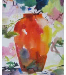 Nature Watercolor Art Painting title Vase Size by artist Manas Biswas