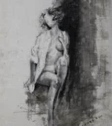 Nude Sitting On A Rock | Drawing by artist NILESH GAVALE |  | charcoal | Paper