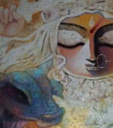 Figurative Acrylic Art Painting title 'Bhairabhia' by artist Subrata Ghosh