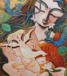 Figurative Acrylic Art Painting title Gift Of Love by artist Subrata Ghosh