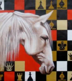 Mithu Biwas | Acrylic Painting title Horse In Chess03 on Canvas | Artist Mithu Biwas Gallery | ArtZolo.com