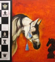 Mithu Biwas | Acrylic Painting title Horse In Chess05 on Canvas | Artist Mithu Biwas Gallery | ArtZolo.com