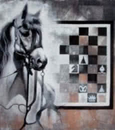 Mithu Biwas | Acrylic Painting title Horse In Chess11 on Canvas | Artist Mithu Biwas Gallery | ArtZolo.com