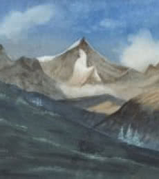 Nature Watercolor Art Painting title 'Mountain' by artist Rina Roy