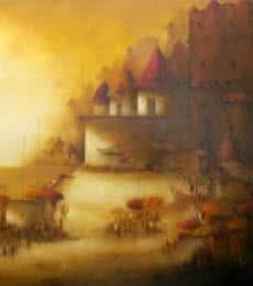 Landscape Acrylic Art Painting title 'Evening veiw of Banaras Ghat 1' by artist Parag Adhikari