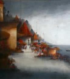 Parag Adhikari | Acrylic Painting title Banaras Ghat 1 on canvas | Artist Parag Adhikari Gallery | ArtZolo.com