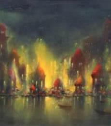 Ganga Ghat | Painting by artist Parag Adhikari | acrylic | canvas
