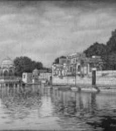 Landscape Ink Art Drawing title 'Ghadisar Lake' by artist Prakash Ghadge