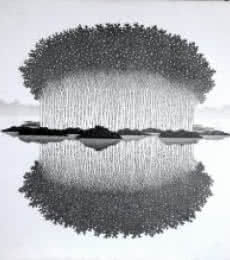 Landscape Ink Art Drawing title Reflection 15 II by artist Prakash Ghadge
