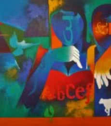 Figurative Acrylic Art Painting title 'Happy Couple 2' by artist Ranjit Singh