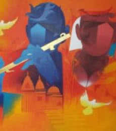 Figurative Acrylic Art Painting title 'Music Of Banaras 1' by artist Ranjit Singh