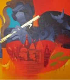 Figurative Acrylic Art Painting title Music Of Banaras 3 by artist Ranjit Singh