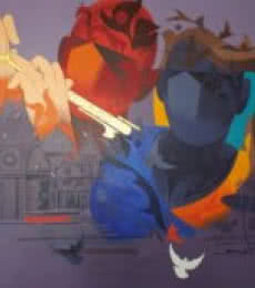 Figurative Acrylic Art Painting title 'Music Of Banaras' by artist Ranjit Singh