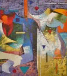 Woman With Bull | Painting by artist Ranjit Singh | acrylic | Canvas