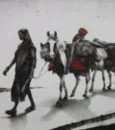 Animals Charcoal Art Painting title 'Journey with Horse' by artist Yuvraj Patil