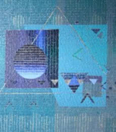 Abstract Acrylic Art Painting title 'Geometrical Family' by artist Amol Satre