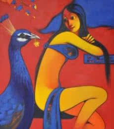 Animals Acrylic Art Painting title 'Friendship' by artist Navnath Chobhe