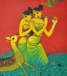 Navnath Chobhe | Acrylic Painting title Sakhi on Canvas | Artist Navnath Chobhe Gallery | ArtZolo.com
