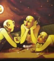 Figurative Acrylic Art Painting title Drinker by artist Navnath Chobhe