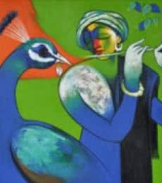 Flute Player | Painting by artist Navnath Chobhe | acrylic | Canvas