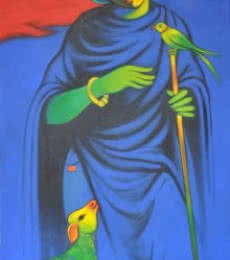Navnath Chobhe | Acrylic Painting title Sheperd on Canvas | Artist Navnath Chobhe Gallery | ArtZolo.com