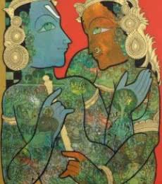Religious Mixed-media Art Painting title Krishna Radha by artist Ramesh Gorjala