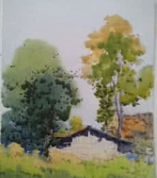 Nature Watercolor Art Painting title 'Landscape 10' by artist Surendra Jagtap