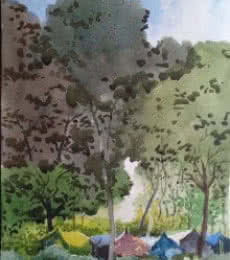 Landscape 11 | Painting by artist Surendra Jagtap | watercolor | Paper