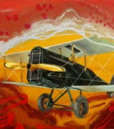 Aviation Oil Art Painting title 'Chariots Of Love 9' by artist Ankur Rana