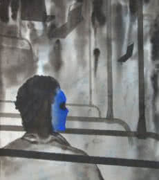 Figurative Watercolor Art Painting title 'Thinking In Bus' by artist Manish Sutar
