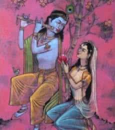 Figurative Acrylic Art Painting title 'Radha Krishna 1' by artist Raju Terdals