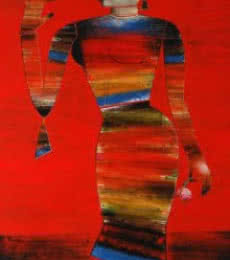 Standing Lady | Painting by artist Raju Terdals | acrylic | Canvas