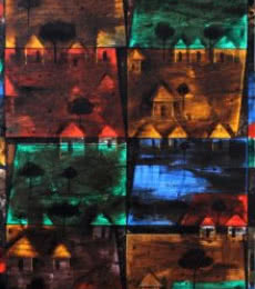 Village On Night-2. | Painting by artist Raju Terdals | acrylic | Canvas