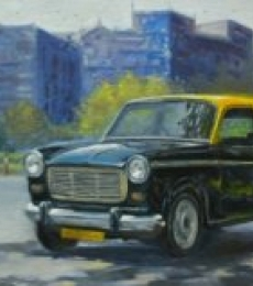 Cityscape Oil Art Painting title 'Rest 1' by artist Uday Farat