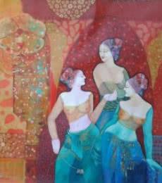 Figurative Acrylic Art Painting title 'Gassiping III' by artist Apurba Karati